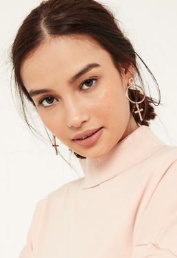 Rose Gold Cross Drop Earrings