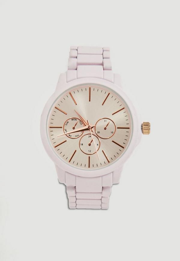 White Matte Chrono Detail Bracelet Watch