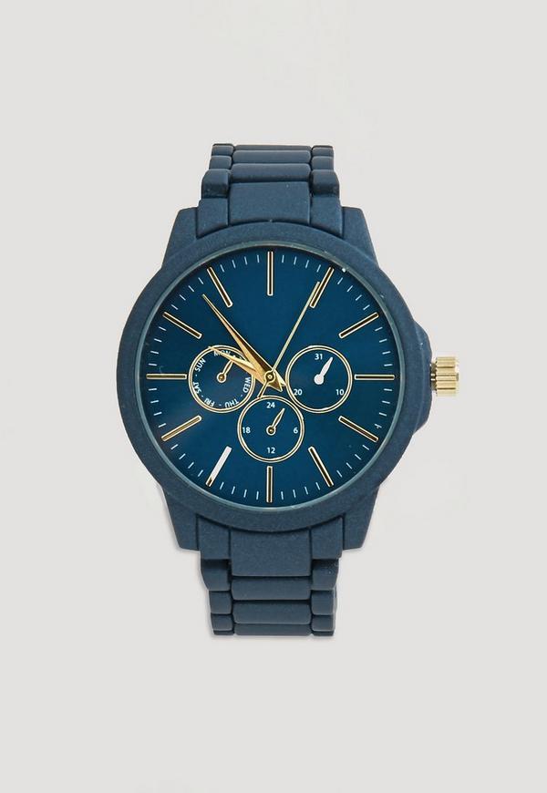 Navy Matte Chrono Detail Bracelet Watch