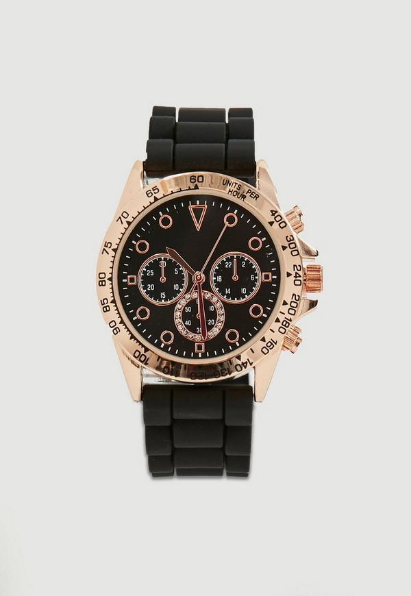 Black Matte Chrono Detail Strap Watch