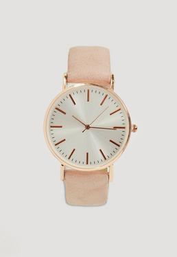 Nude Strap Contrast Large Face Watch