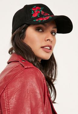 Black Embroidered Patch Cap