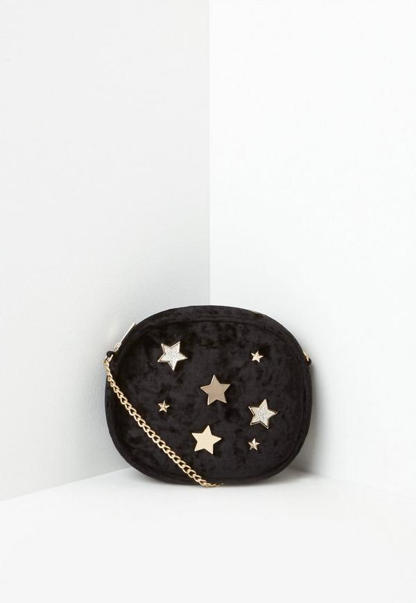 Black Velvet Star Badge Cross Body Bag
