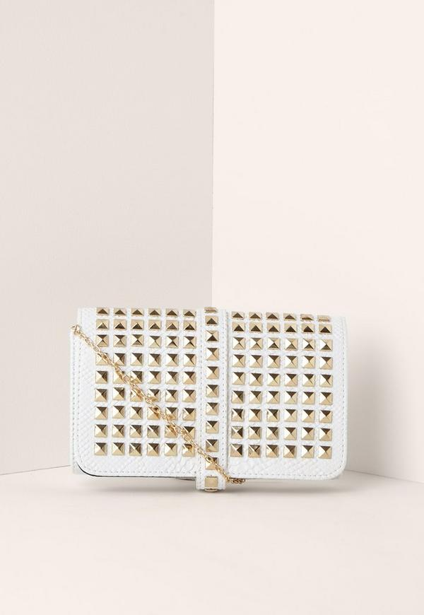 Multi Stud Clutch Bag White