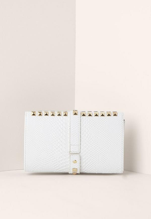 Multi Stud Clutch Bag White Previous Next
