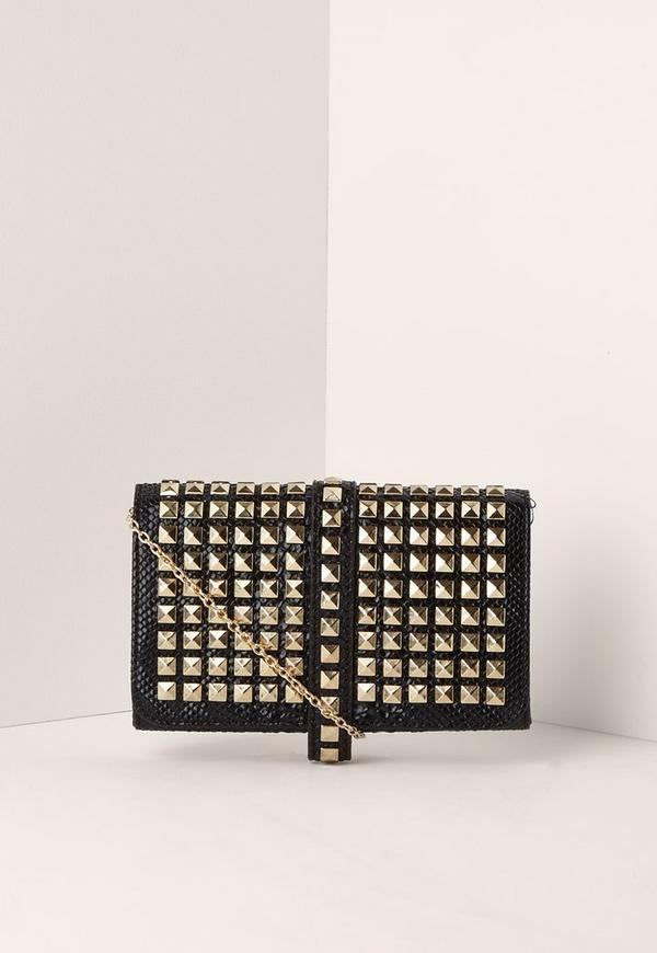 Multi Stud Clutch Bag Black
