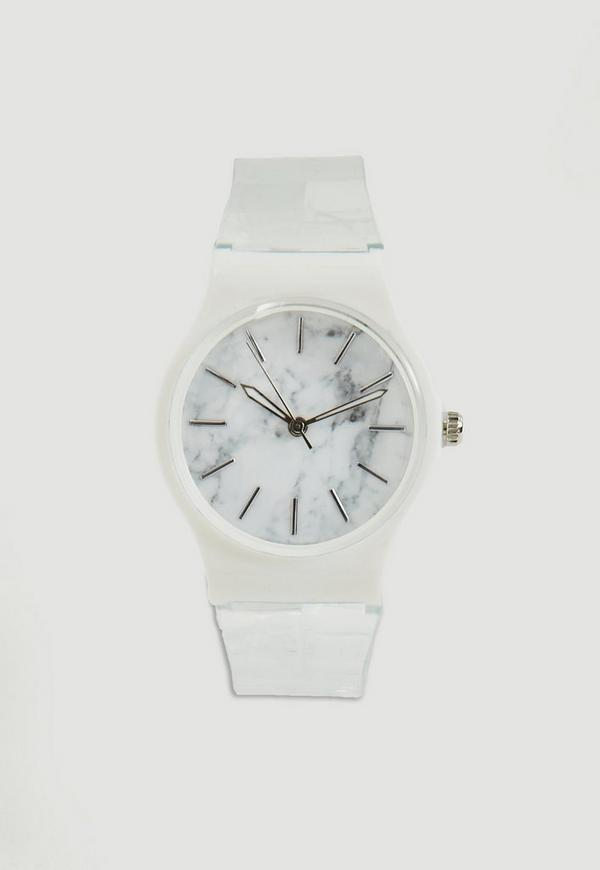Silver Marble Face Clear Strap Watch