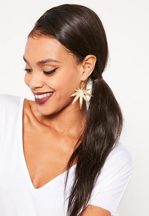 Leaf Statement Earrings Gold