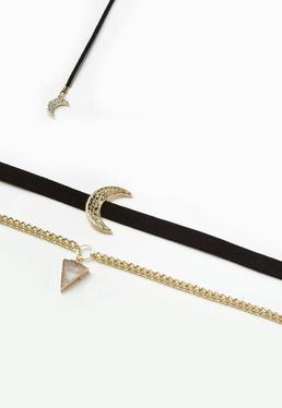 Lot de 3 colliers ras du cou noirs à pendentifs