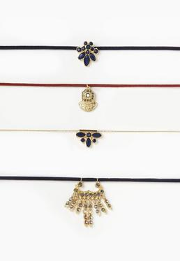 Gold 4 Pack Jewelled Choker Necklaces