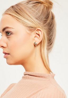 Lot de 6 boucles d'oreilles dorées
