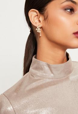 Gold Diamante Star Cuff Earrings
