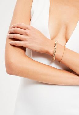 Gold 2 Pack Simple Chain Bracelets