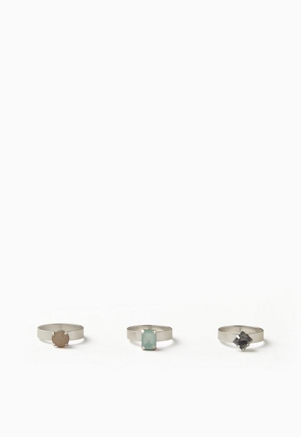 Silver 3 Pack Gem Detail Ring Set