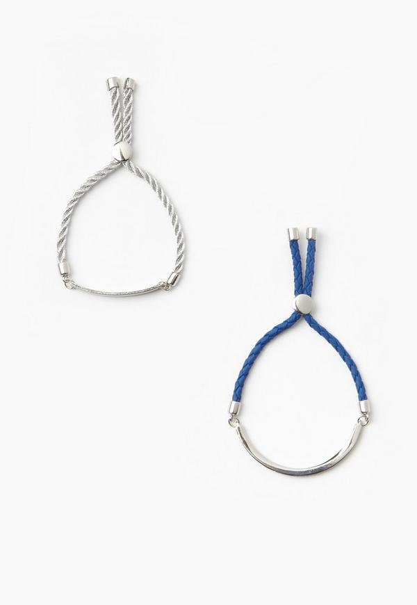 Silver 2 Pack Rope Tie Bracelets