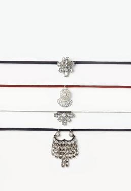 Silver 4 Pack Jewelled Choker Necklace Set