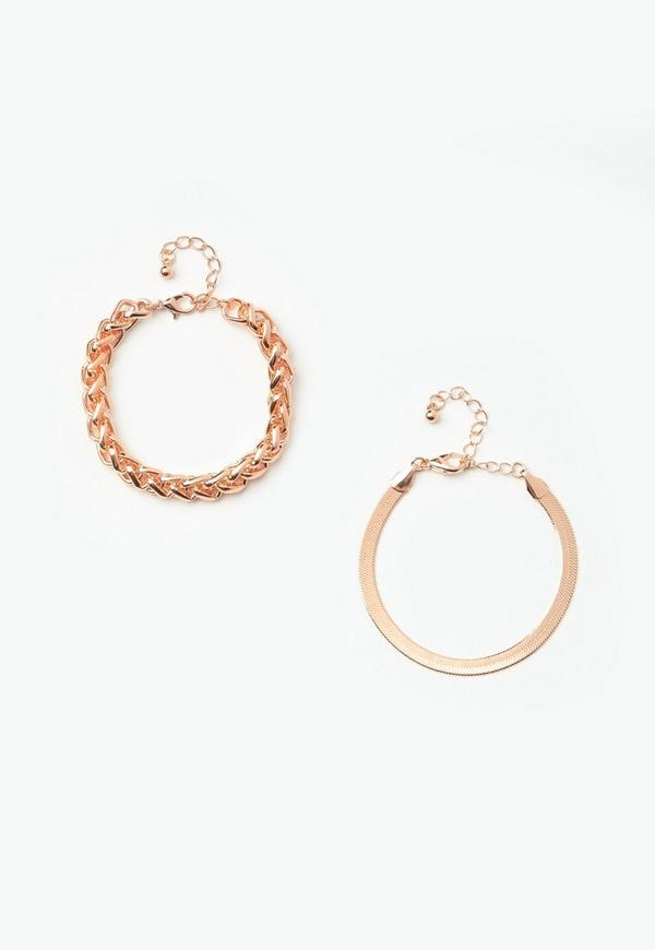 Rose Gold 2 Pack Simple Chain Bracelets