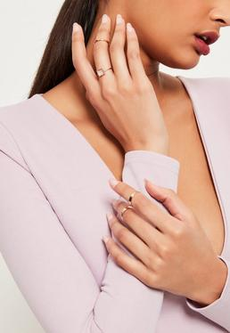 Rose Gold Diamante Detail Ring Pack