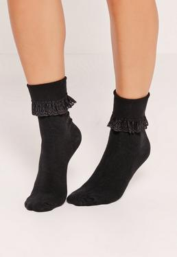 Frill Ankle Socks Black