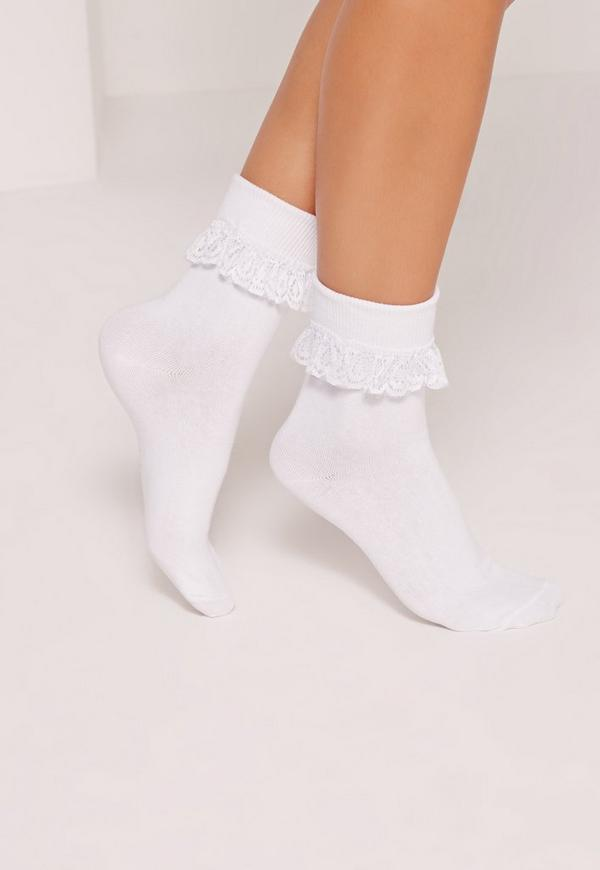 Frill Ankle Socks White