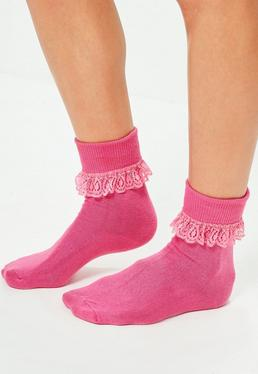 Frill Ankle Socks Pink