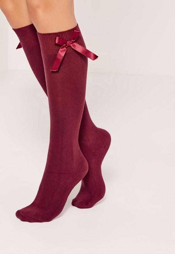 Knee High Bow Socks Burgundy