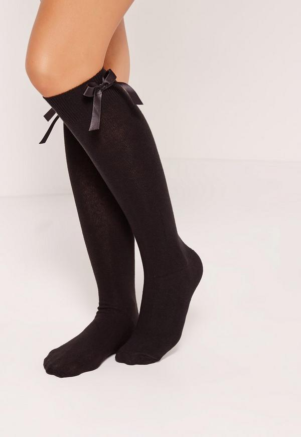 Knee High Bow Socks Black