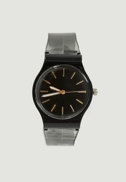 Armbanduhr mit transparentem Band in mattem Schwarz