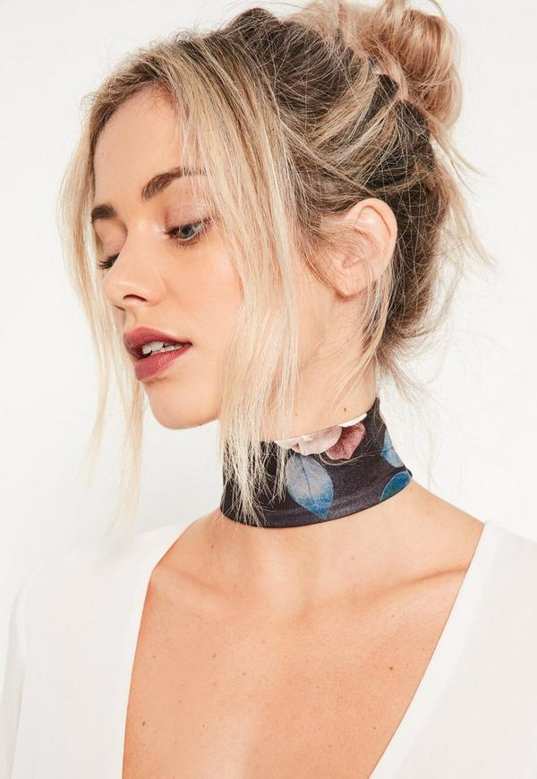 Floral Fabric Choker Navy