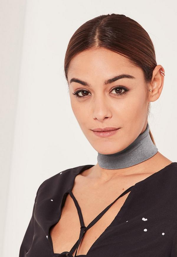 Grey Chunky Velvet Choker Necklace
