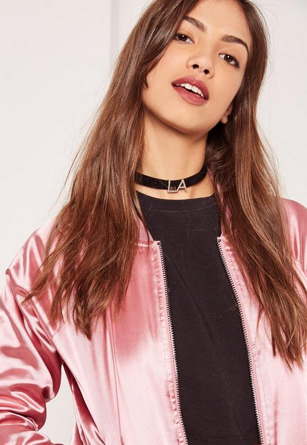 Black LA Diamante Choker Necklace