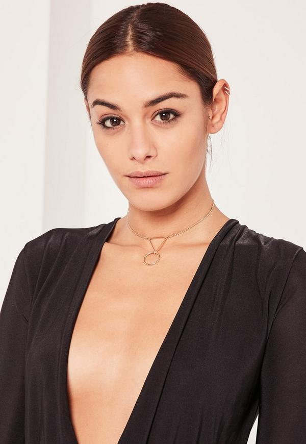 Gold Circle Drop Chain Choker Necklace
