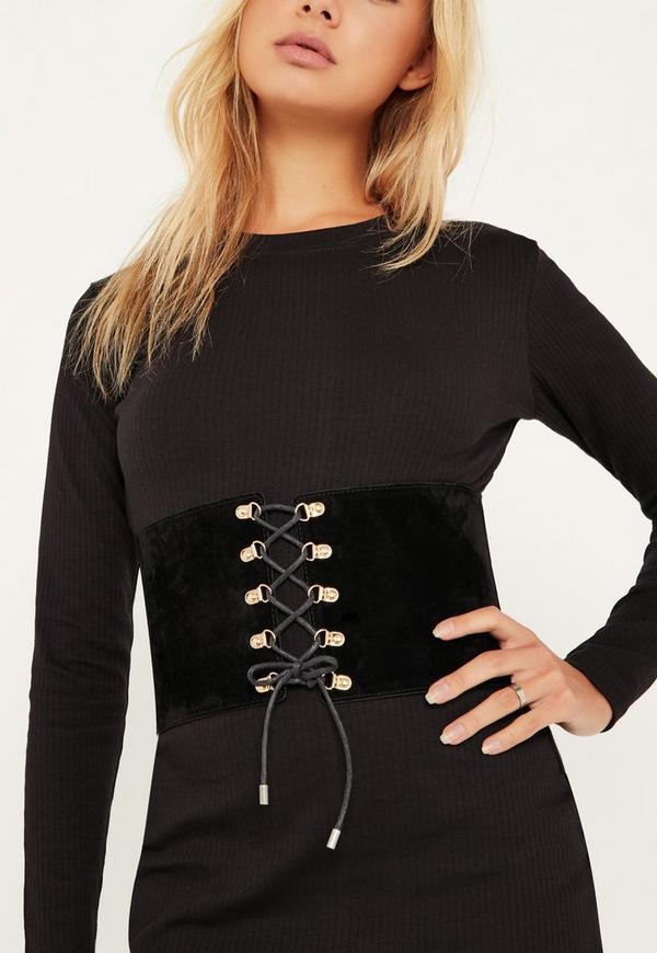 Black Faux Suede Lace Up Corset Belt