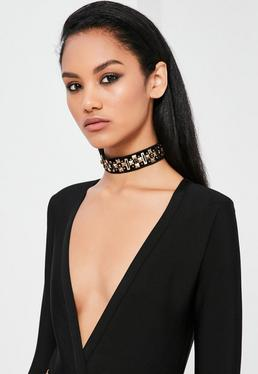 Peace + Love Black Embellished Stud Choker Necklace