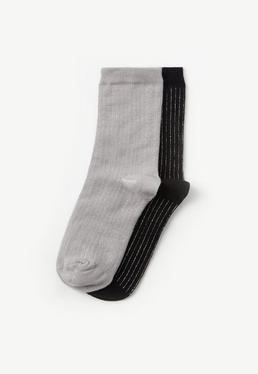 Grey & Black 2 Pack Glitter Stripe Socks
