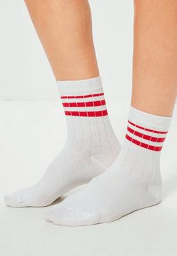 White 2 Pack Contrast Striped Sports Socks
