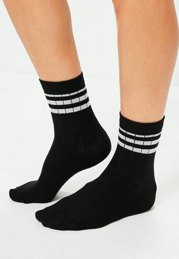Grey & Black 2 Pack Striped Sports Socks
