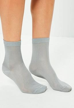 Grey Slinky Ankle Socks