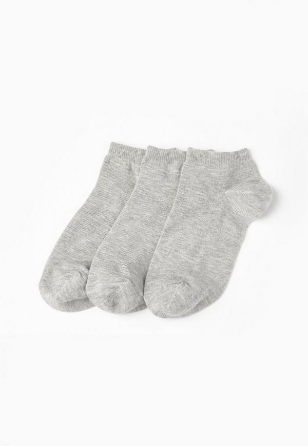 Grey Basic 3 Pack Trainer Socks
