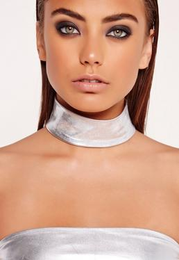 Metallic Choker Necklace Silver