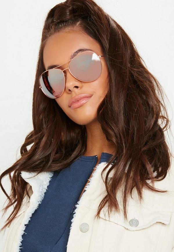 b237e62cbbd Rose Gold Glam Aviator Sunglasses
