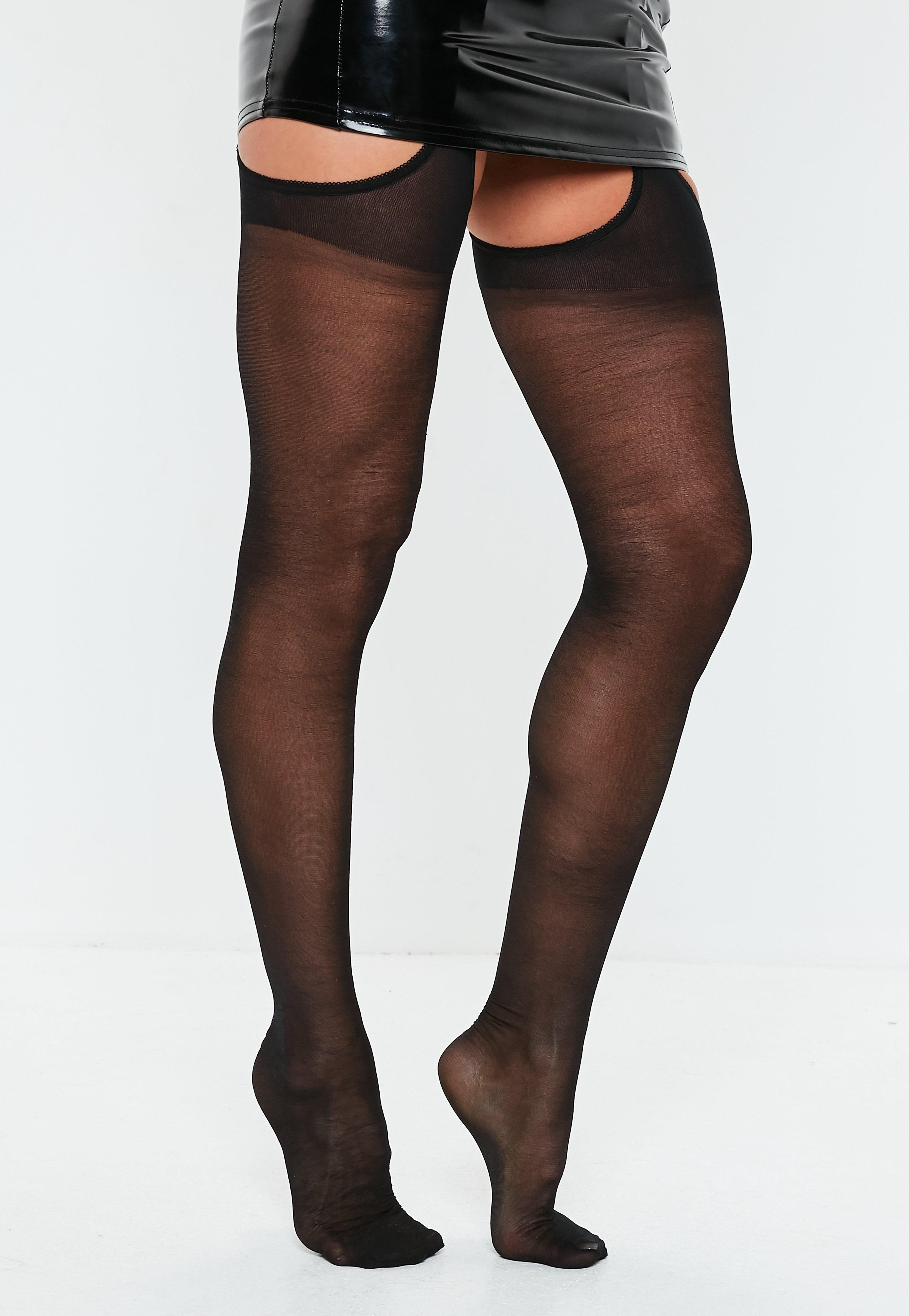 halloween black suspender tights | missguided ireland