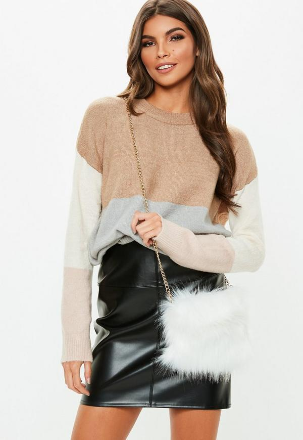 White Faux Fur Cross Body Bag by Missguided