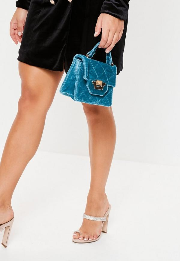 Blue Micro Mini Velvet Quilted Handbag by Missguided