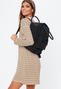 Черный универсальный рюкзак из плотной ткани