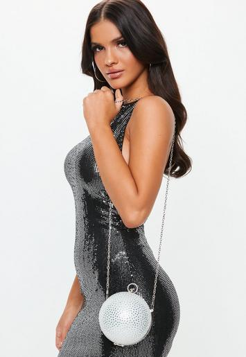 holiday party outfit ideas - Silver Diamante Round Bag