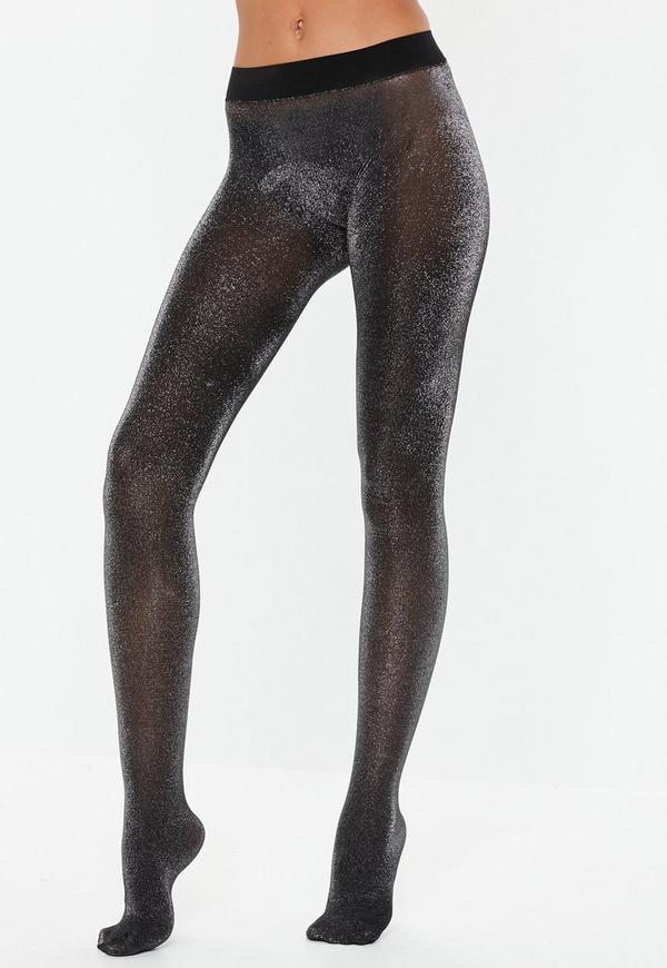 Black Metallic Sparkle Pantyhose by Missguided