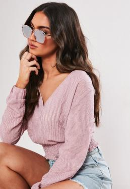 Солнцезащитные очки в металлической оправе с розовым золотом