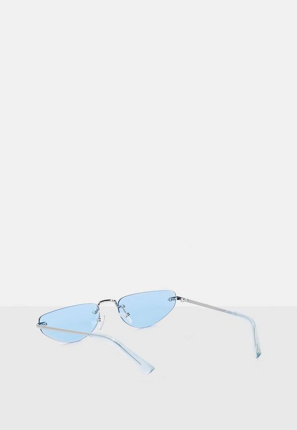 62ec061b1a ... Blue Rimless Cat Eye Sunglasses. Previous Next