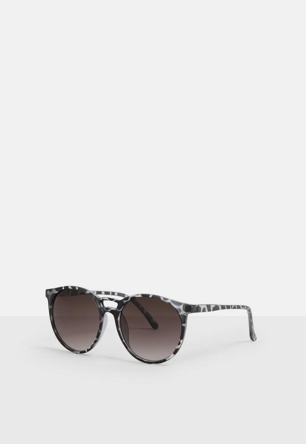 b6440b4fe Black Tortoise Shell Round Club Sunglasses. Previous Next